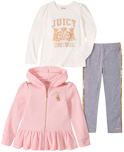 Juicy Couture Baby Girls 3 Pieces Jacket Pants Set, Pink/Vanilla/Gray, 3-6 Months from Juicy Couture