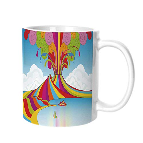 Volcano Fashion Coffee Cup,Skyline of Naples and Vesuvio in Rainbow Eruption Themed Artistic Illustration Decorative For office,One size