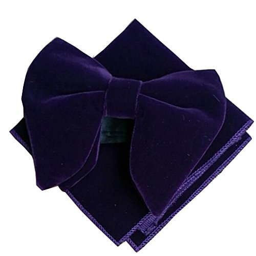 Mens Big Oversized Bowknot Velvet Tuxedo Pre-Tied Bow Tie by Charming House (One Size, Purple (Bow Tie + Hanky)) -