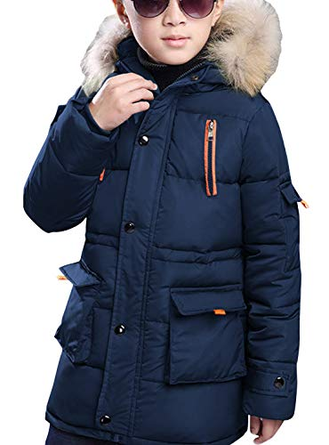 FARVALUE Boy Winter Coat Warm Quilted Puffer Parka Jacket with Fur Hood for Big Boys Navy Size 16 (Quilted Kids Jacket)