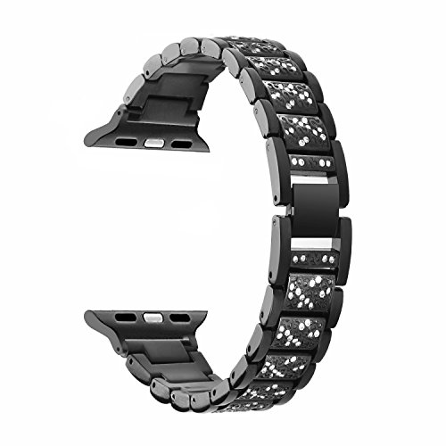 Amawell Band for Apple Watch,Stainless Steel Metal Wrist Band with Adjustable Buckle for Apple iwatch/Apple Watch Series 1,Series 2/Apple Watch Nike+. (Black, 42mm)