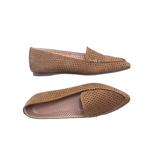 ShoBeautiful Women's Spring Summer Comfort Faux Leather Hollow Out Flat Loafers Arrow11 Tan 8.5