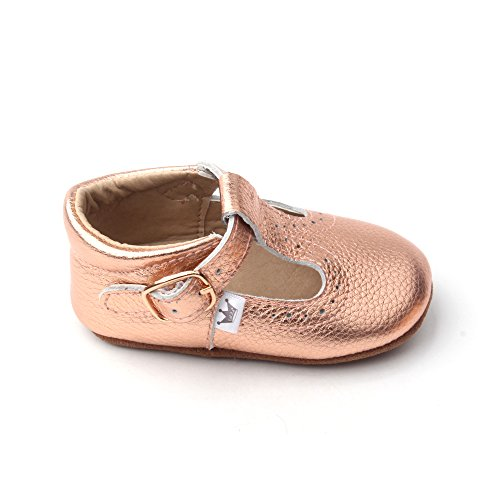 Liv & Leo Baby Girls Mary Jane T-bar T-Strap Oxford Soft Sole Crib Shoes Leather (18-24 Months, Rose Gold) (Soft Footwear Gold Leather)