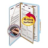 Pressboard Classification Folders, Legal, Four-Section, Blue, 10/Box by Smead