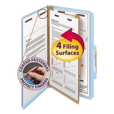 Pressboard Classification Folders, Legal, Four-Section, Blue, 10/Box by Smead