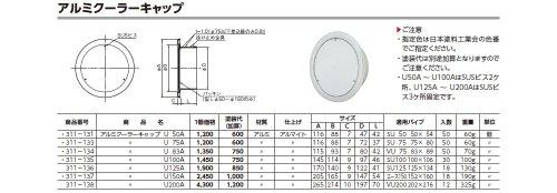 ACE (311-133) アルミクーラーキャップ U75A