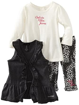 Calvin Klein Baby Girls' Vest with Long Sleeve Tee And Printed Pant, Assorted, 12 Months