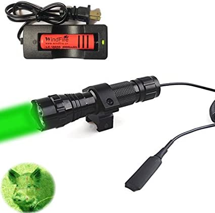 Tactical T6 LED Hunting Flashlight Picatinny Weapon Light Coyote Offset Mount