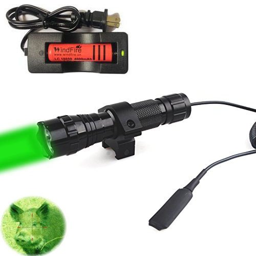 Capacity Light Green - WindFire Waterproof CREE Green Light LED Coyote Hog Hunting Light Lamp Tactical Flashlight Torch With Pressure Switch and Rail Rifle Mount for Picatinny AR (18650 Battery and Charger included)