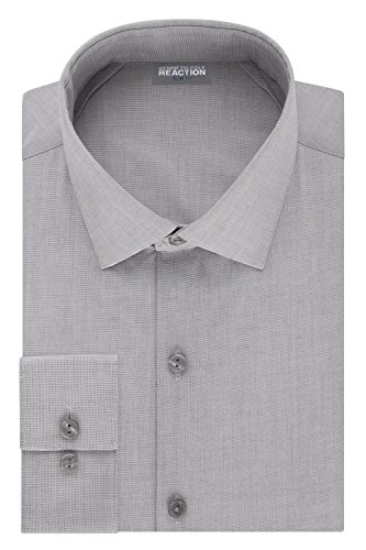 Kenneth Cole Reaction Men's Technicole Slim Fit Stretch Solid Spread Collar Dress Shirt , Grey Frost, 16