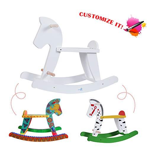 Vintage Toy Horse - Labebe Child Rocking Horse, Wooden Rocking Horse Toy, White Rocking Horse for kid 1-3 Years, Vintage Rocking Horse Set/Kid Rocking Horse Chair/Outdoor Rocking Horse/Rocker/Animal Ride/Rocking Toy