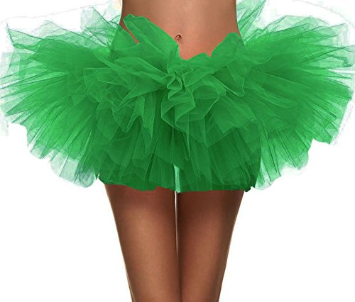 Simplicity Womens Dance Tutu Layered Organza Clubwear Mini Skirt Party Dress, Sante Green