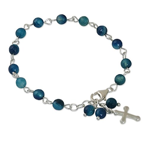 NOVICA Aquamarine .925 Sterling Silver Beaded Bracelet, 7.5