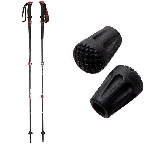 Black Diamond Trail Pro Shock Trekking Pole, 68-140cm and Black Diamond Classic Trekking Pole Tip Protectors Bundle