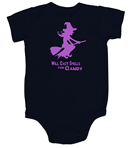 Will Cast Spells for Candy Halloween Witch Baby Shirt (6-12M short sleeve bodysuit)