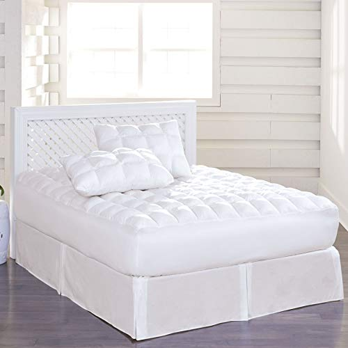 BrylaneHome 200-Tc Cotton Puff Mattress Pad - White, Full