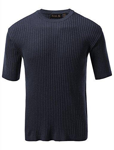 Ribbed Short Sleeve Sweater (7 Encounter Men's Crewneck Short Sleeve Large Ribbed Sweater Blueberry L)