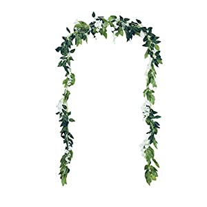 Grace Florist 6.6Ft Artificial Flowers Silk Wisteria Ivy Vine Rattan Hanging Flower for Wedding Party Home Garden Wall Decoration (white, 2) 65