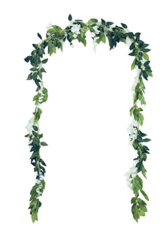 Grace Florist 6.6Ft Artificial Flowers Silk Wisteria Ivy Vine Rattan Hanging Flower for Wedding Party Home Garden Wall Decoration (white, 2)