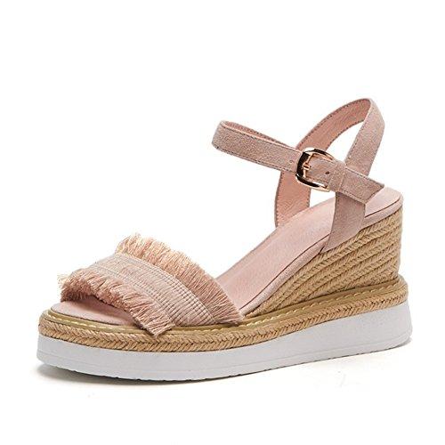 Zapatos de Mujer PU Summer Fall Sandals Heel Flat Toe Hebilla para Oficina y Carrera al Aire Libre Verde Rosa Albaricoque Un
