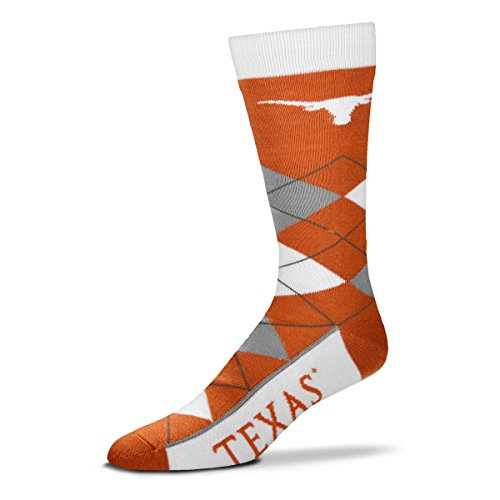 For Bare Feet NCAA Argyle Lineup Socks-Texas Longhorns-One Size Fits Most