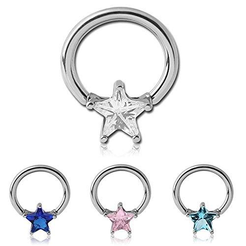 # Star CZ Dangle Captive Bead CBR/Hoop Ring #153 (16G (5/8