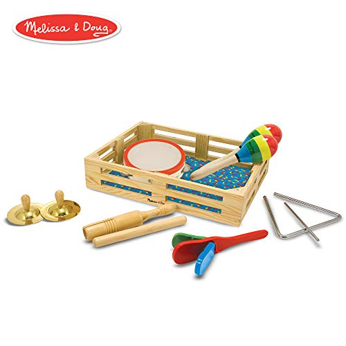 Melissa & Doug Band-in-a-Box Clap! Clang! Tap! Musical Instruments (Various Instruments, Wooden Storage Crate, 10-Piece Set, 3
