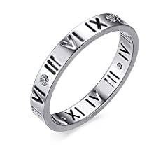 Vnox Stainless Steel CZ Roman Numeral Ring for Women Girls,Rose Gold Plated/Silver *Great Gift Ideal for Birthday/Cristmas/Gaduation/Aniversary/Valentine's Day/Romantic Surprises *Wedding & Engagement & Anniversary & Promise &amp...