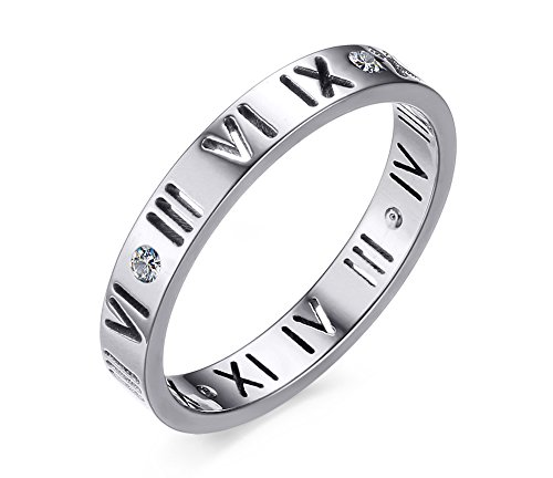 Women's Stainless Steel CZ Roman Numeral Ring for Wedding Band (Roman Silver Bands)