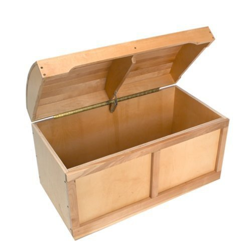 Barrel Top Toy Chest - Natural - Kids' Furniture - Treasure Chest Styling - Slow-close Safety Hinges - Frame Is Made of Hardwood - Non-toxic - 30 Days Limited Manufacturer Warranty