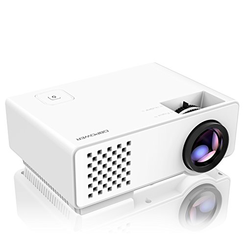 Projector, DBPOWER RD-810 Mini LED Video Projector, Multimedia Home Theater Video Projector Supporting 1080P, HDMI, USB, VGA, AV for Home Cinema, TVs, Laptops, Games, & Smartphones (Tv Hdmi Projector)