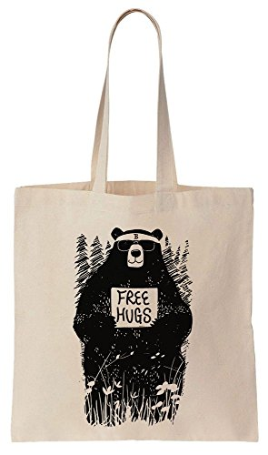 Cool Hipster Bear Offers Free Hugs Sacchetto di cotone tela di canapa