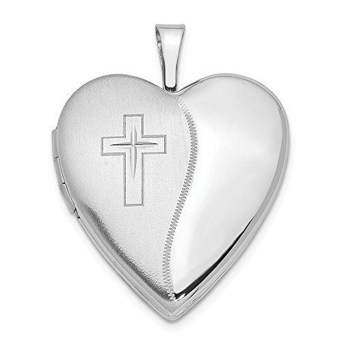 14k 20mm White Gold Cross Religious Heart Photo Pendant Charm Locket Chain Necklace That Holds Pictures Fine Jewelry Gifts For Women For Her 14k Engraveable Cross Pendant