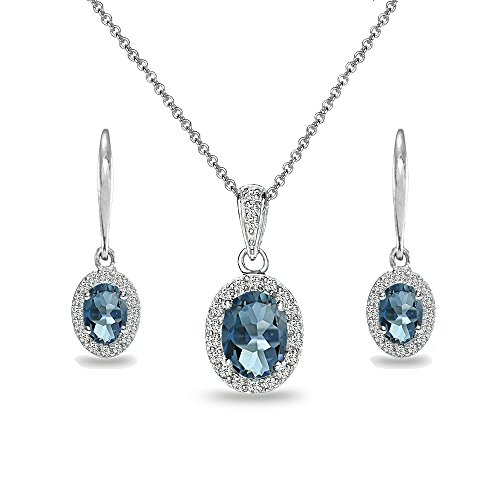 (Sterling Silver London Blue Topaz & White Topaz Oval Halo Necklace & Leverback Earrings Set)