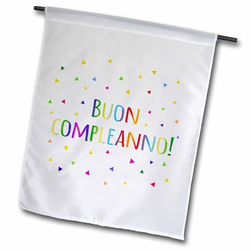 3dRose fl_202039_1 Buon Compleanno Happy Birthday in Italian Colorful Rainbow Text Garden Flag, 12 by 18