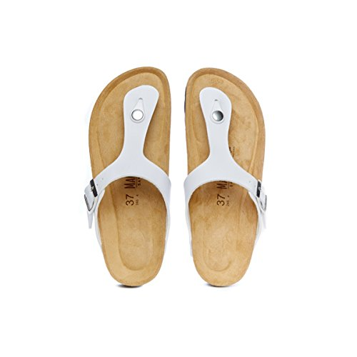 Piel Para Mujer Mandl Blanco De Bianco Vestir Sandalo Sandalias Sinttica YHI4S