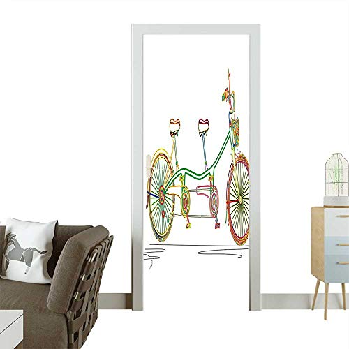 (Homesonne 3D Door Decals Tandem Bicycle Design on White Background Pattern Clipart Style Print Self Adhesive Door DecalW35.4 x H78.7 INCH)