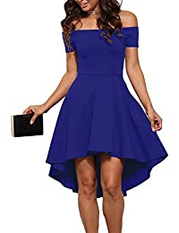 Women Off The Shoulder Short Sleeve High Low Cocktail...