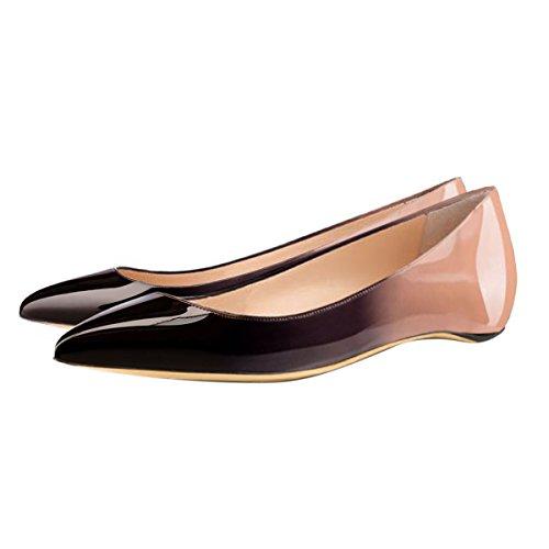 Damen Pumps low Heel Spitze Zehenkappe Komfort mehrfarbig Lady Schuhe Mehrfarbig