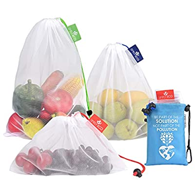 Simply Eco Reusable Produce Bags with Zero Waste, See-Through mesh Green Bags for Fruit and Veggies, Fridge Organizing, Toys & Accessories. Superior Double-Stitched Strength, with Tare Weight & Color-