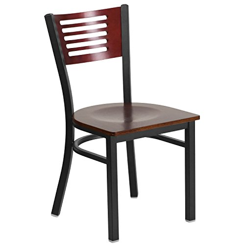 (Flash Furniture HERCULES Series Black Slat Back Metal Restaurant Chair - Mahogany Wood Back &)