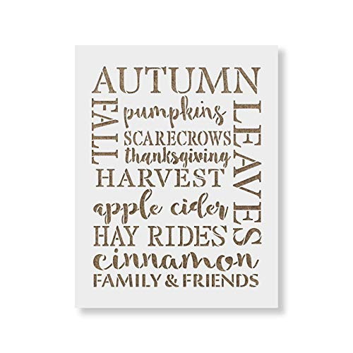 Fall Words Stencil Template - Reusable Stencils for Painting in Small & Large Sizes