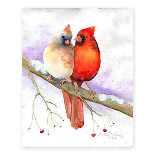 Cardinal Pair Fine Art Print, Red Birds Couple, Watercolor Print by Cheryl Casey Art