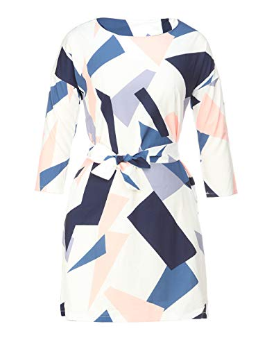 Womens Printed Geormetic Pattern 3/4 Sleeve Boat Neck Colorblock Belted Midi Knee Length Dress with Pockets