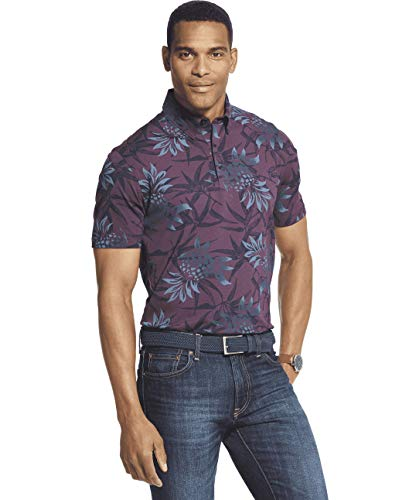 Van Heusen Men's Big and Tall Air Short Sleeve Soft Touch Print Polo Shirt, Purple Hortensia, X-Large