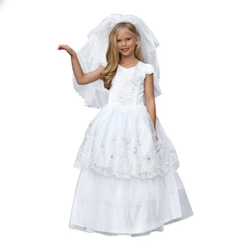 Angels Garment Big Girls White Corset Embroidered Organza Communion Dress 12 by Angels Garment