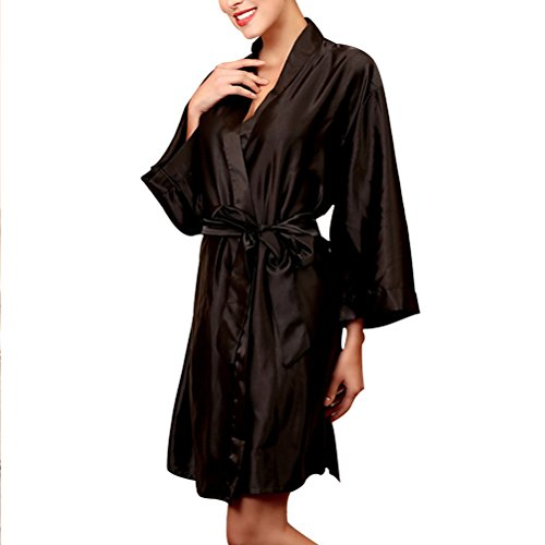 Nightwear Kimono Bathrobe Sleepwear Satin Fashion Womens Black Dressing Robe Gown Zhhlaixing BFa4wqR