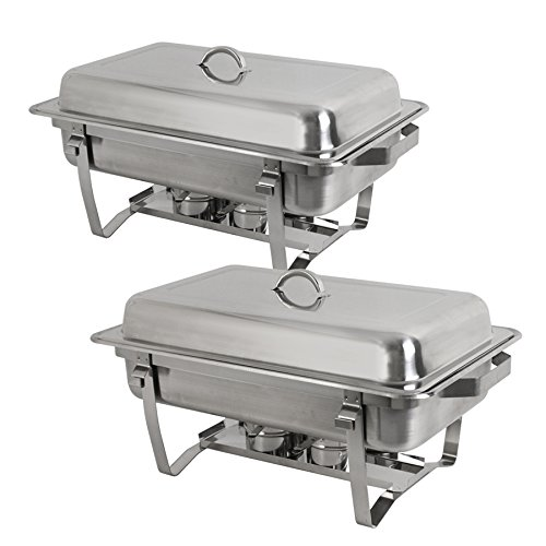 nless Steel 4 Pack Full Size Chafer Dish w/Water Pan, Food Pan, Fuel Holder and Lid For Buffet/Weddings/Parties/Banquets/Catering events (2) ()