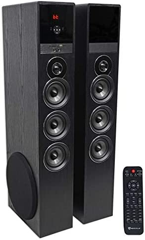 Rockville TM150B Black House Theater System Tower Audio system 10″ Sub/Blueooth/USB
