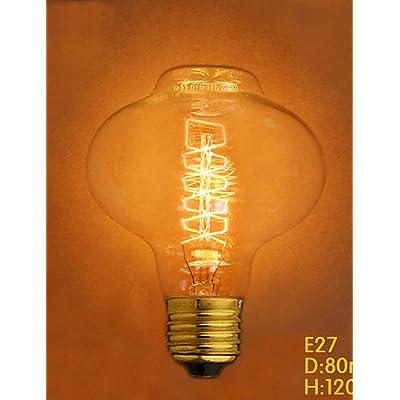 Jliner-40W E27Style rétro Industrie ampoule incandescente transparente, Warm White-220–240V